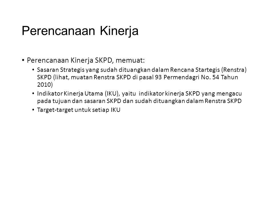 Perencanaan Kinerja Perencanaan Kinerja SKPD, memuat: