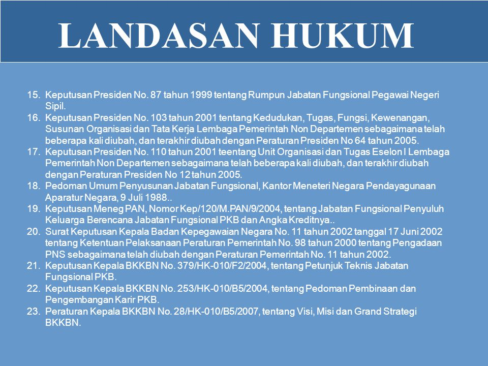 LANDASAN HUKUM Keputusan Presiden No. 87 tahun 1999 tentang Rumpun Jabatan Fungsional Pegawai Negeri Sipil.