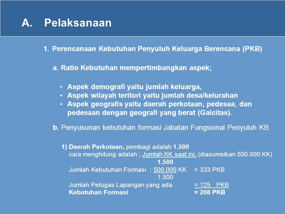 A. Pelaksanaan 1. Perencanaan Kebutuhan Penyuluh Keluarga Berencana (PKB) a. Ratio Kebutuhan mempertimbangkan aspek;