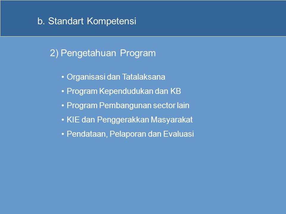Standart Kompetensi Pengetahuan Program Organisasi dan Tatalaksana