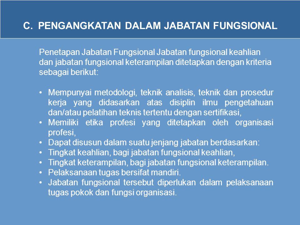 C. PENGANGKATAN DALAM JABATAN FUNGSIONAL