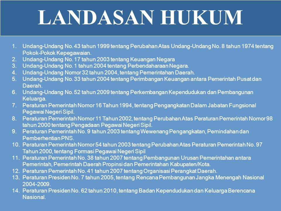 LANDASAN HUKUM Undang-Undang No. 43 tahun 1999 tentang Perubahan Atas Undang-Undang No. 8 tahun 1974 tentang Pokok-Pokok Kepegawaian.