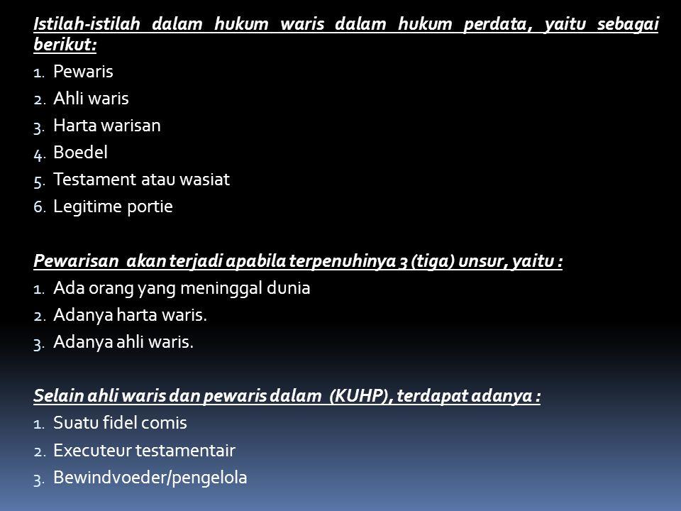 Istilah-istilah dalam hukum waris dalam hukum perdata, yaitu sebagai berikut: