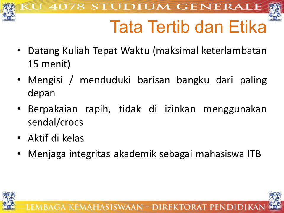 Tata Tertib dan Etika Datang Kuliah Tepat Waktu (maksimal keterlambatan 15 menit) Mengisi / menduduki barisan bangku dari paling depan.