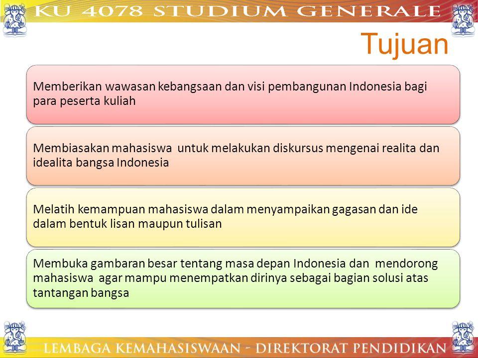 Tujuan Memberikan wawasan kebangsaan dan visi pembangunan Indonesia bagi para peserta kuliah.