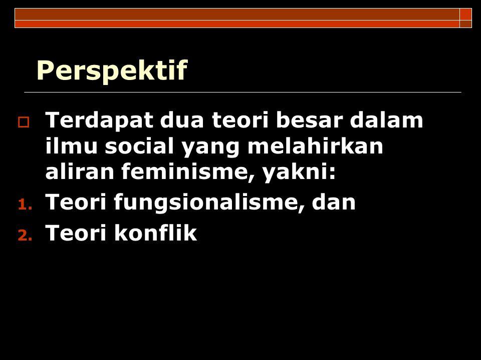 Perspektif Terdapat dua teori besar dalam ilmu social yang melahirkan aliran feminisme, yakni: Teori fungsionalisme, dan.