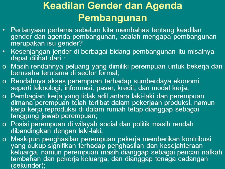 Keadilan Gender dan Agenda Pembangunan
