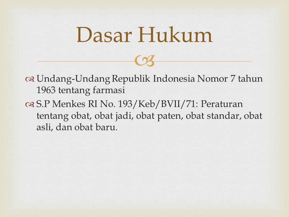 Dasar Hukum Undang-Undang Republik Indonesia Nomor 7 tahun 1963 tentang farmasi.