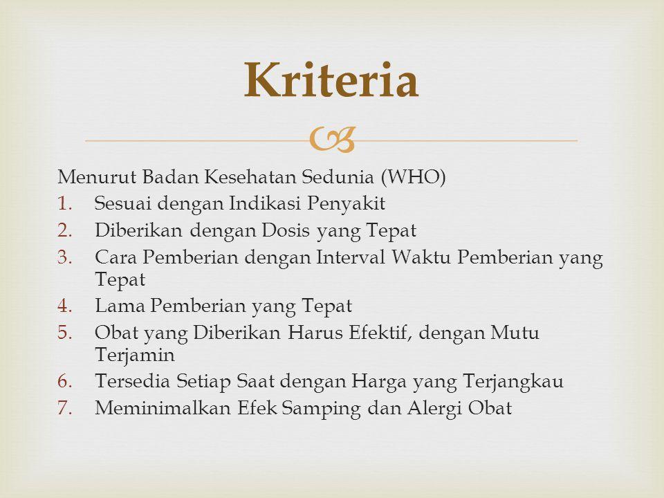 Kriteria Menurut Badan Kesehatan Sedunia (WHO)