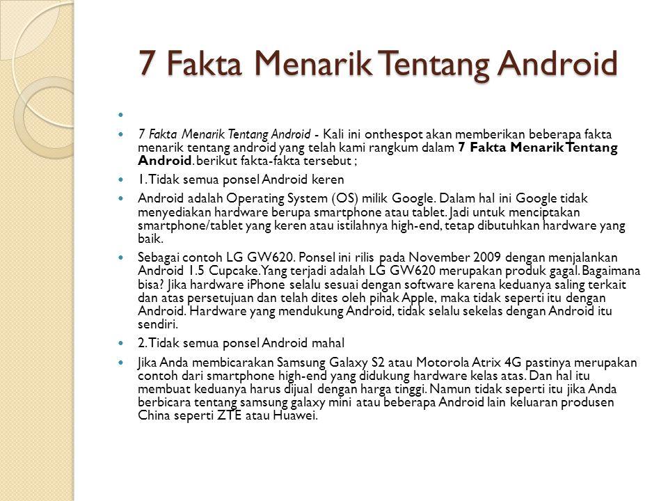 7 Fakta Menarik Tentang Android