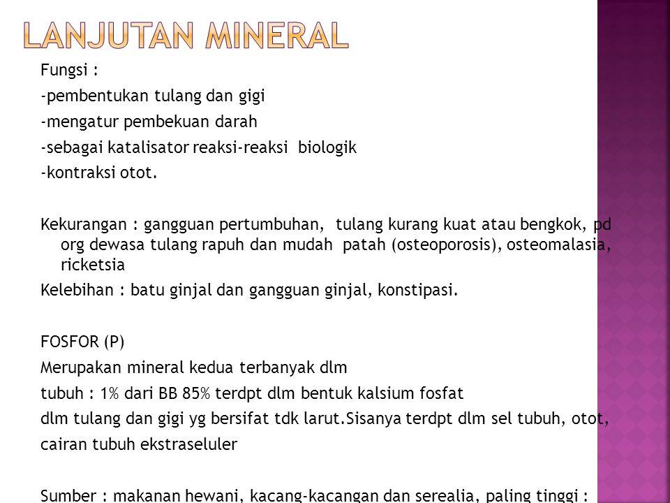 Lanjutan mineral Fungsi : -pembentukan tulang dan gigi