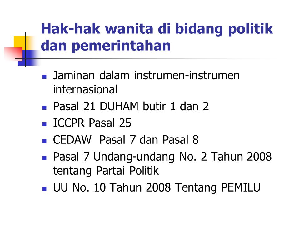 Hak-hak wanita di bidang politik dan pemerintahan