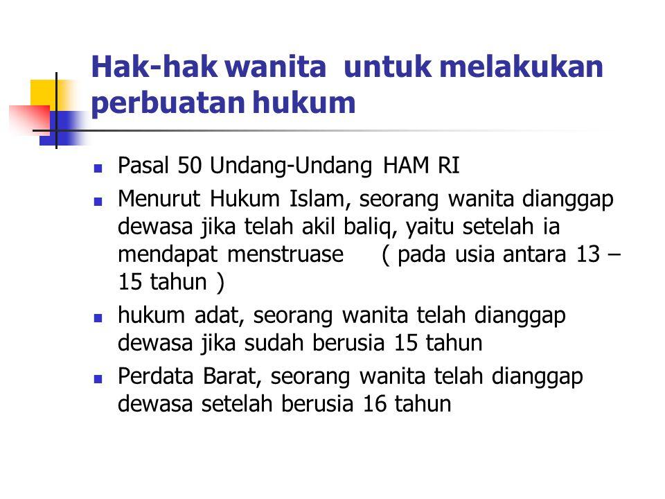 Hak-hak wanita untuk melakukan perbuatan hukum