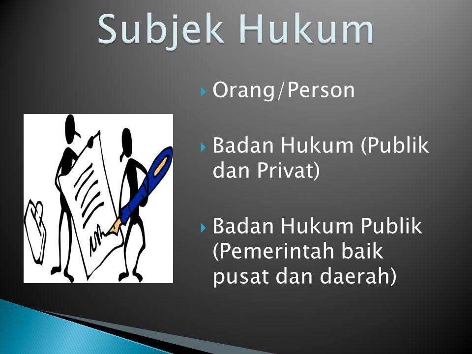 Subjek Hukum Orang/Person.