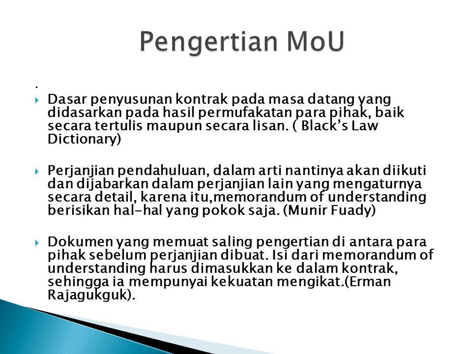 Pengertian MoU .