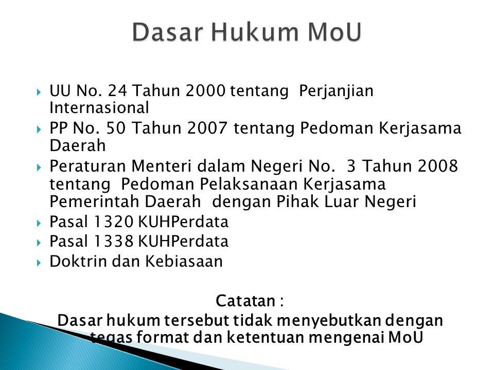 Dasar Hukum MoU PP No. 50 Tahun 2007 tentang Pedoman Kerjasama Daerah