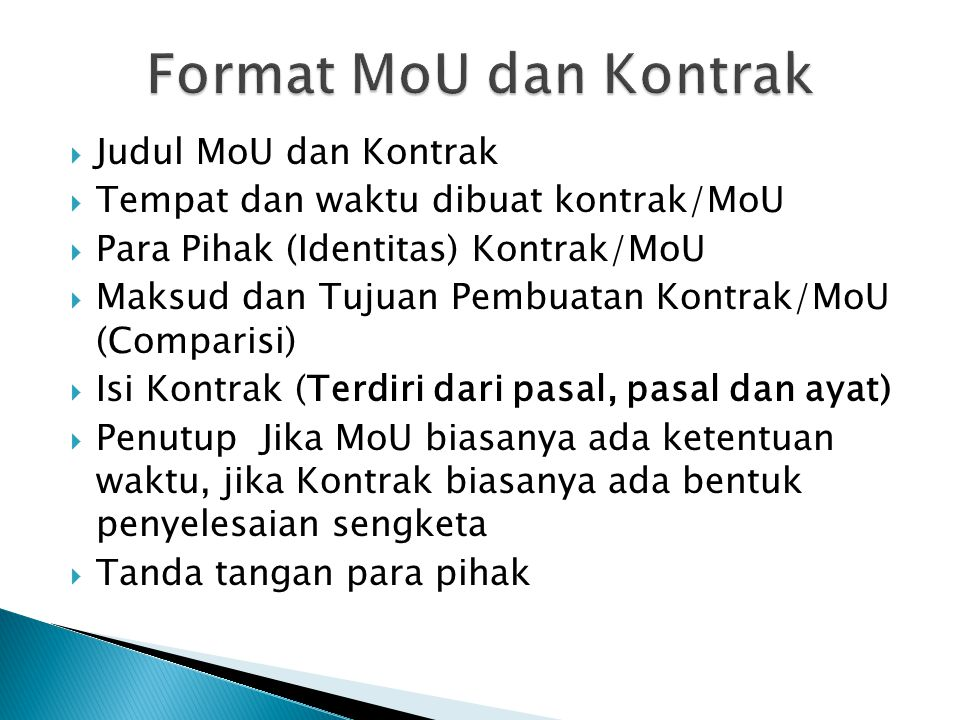 Format MoU dan Kontrak Judul MoU dan Kontrak