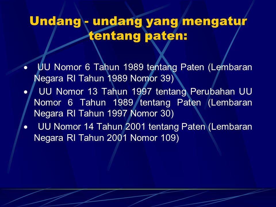 Undang - undang yang mengatur tentang paten: