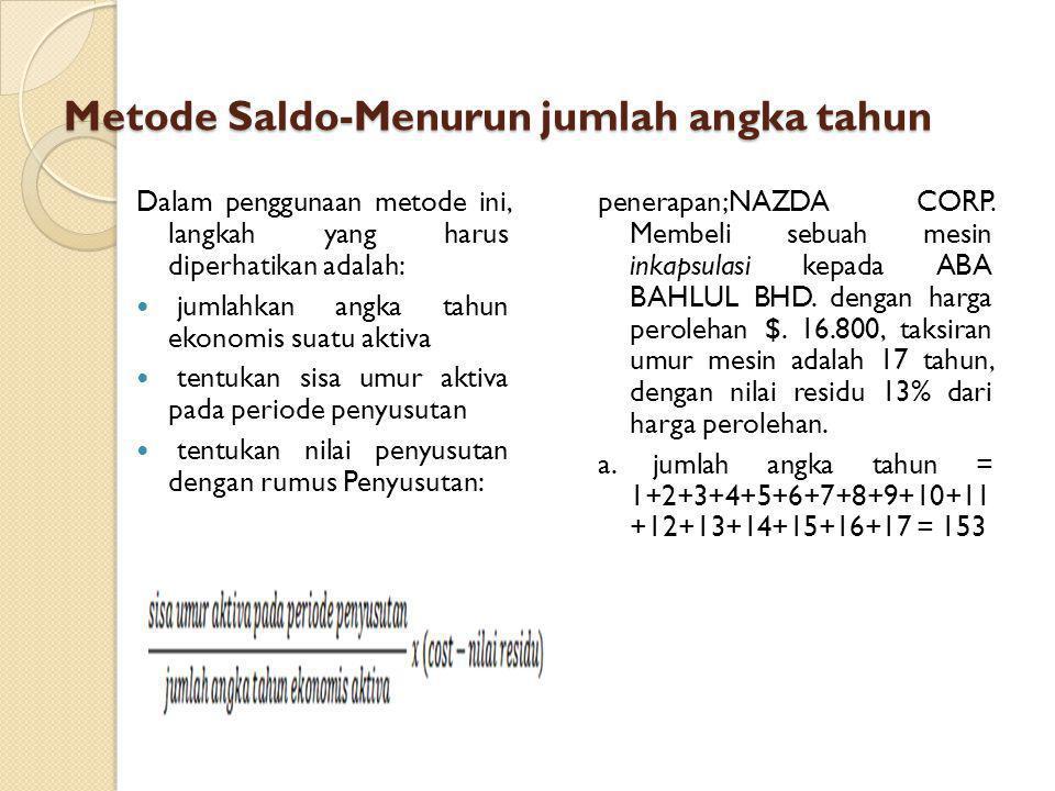 Metode Saldo-Menurun jumlah angka tahun