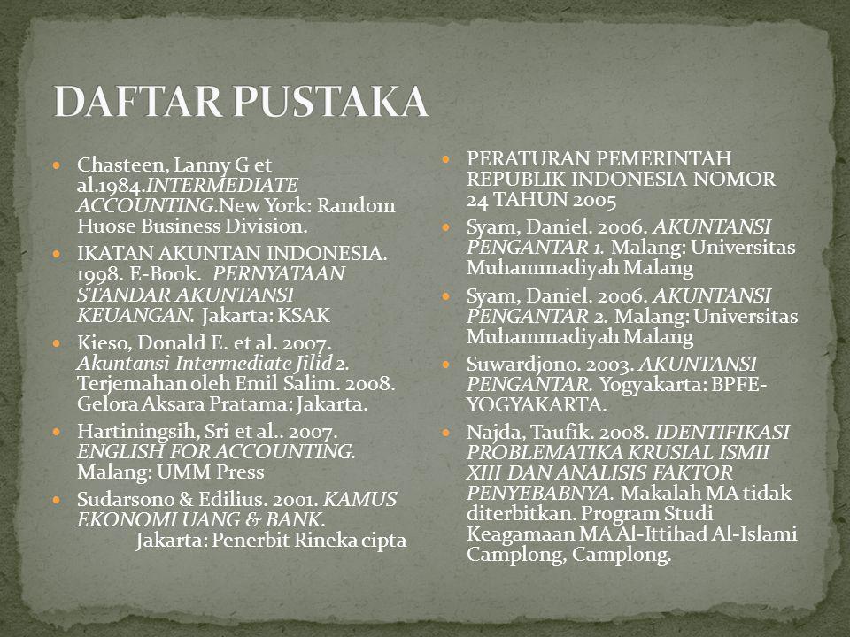 DAFTAR PUSTAKA PERATURAN PEMERINTAH REPUBLIK INDONESIA NOMOR 24 TAHUN 2005.