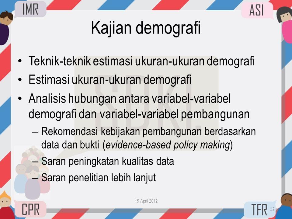 Kajian demografi Teknik-teknik estimasi ukuran-ukuran demografi
