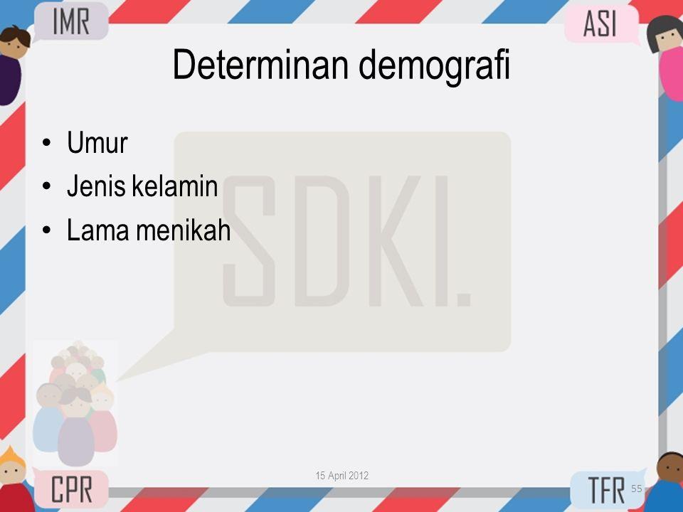 Determinan demografi Umur Jenis kelamin Lama menikah 15 April 2012