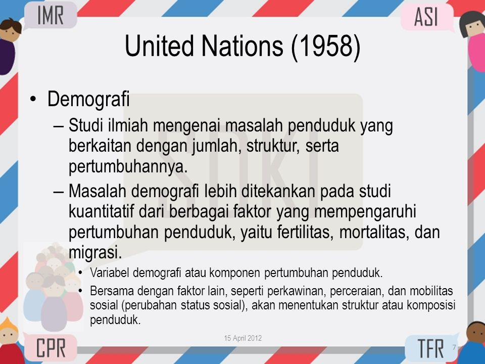 United Nations (1958) Demografi