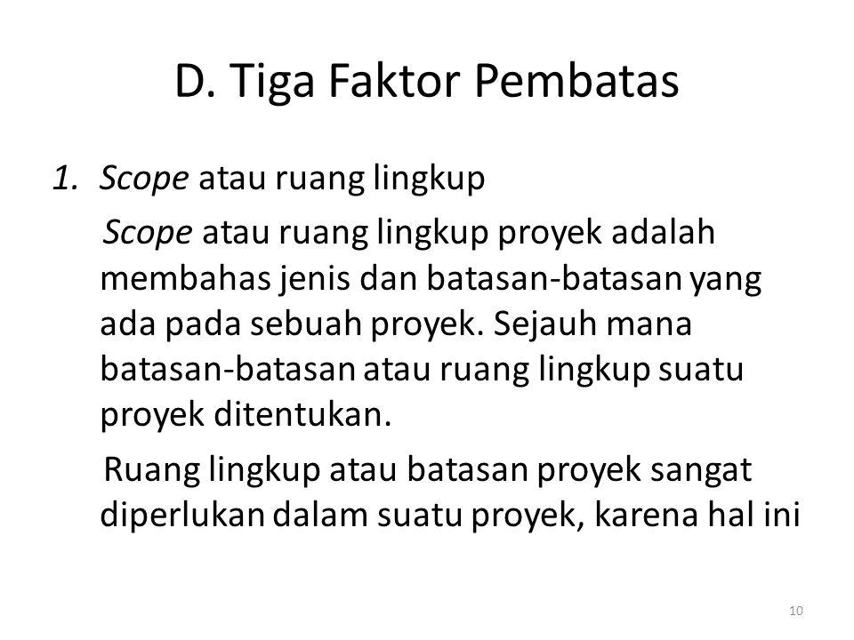D. Tiga Faktor Pembatas Scope atau ruang lingkup