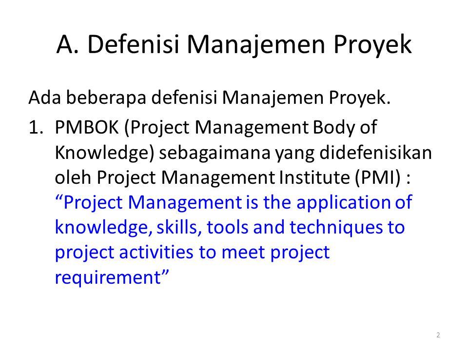 A. Defenisi Manajemen Proyek