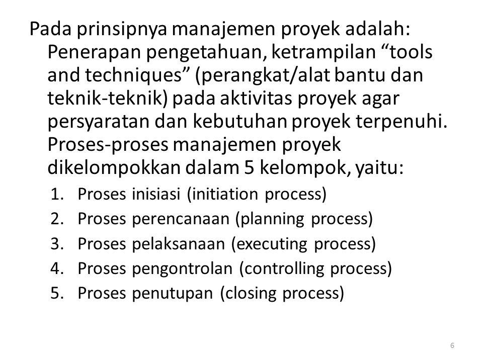 Pada prinsipnya manajemen proyek adalah: Penerapan pengetahuan, ketrampilan tools and techniques (perangkat/alat bantu dan teknik-teknik) pada aktivitas proyek agar persyaratan dan kebutuhan proyek terpenuhi. Proses-proses manajemen proyek dikelompokkan dalam 5 kelompok, yaitu: