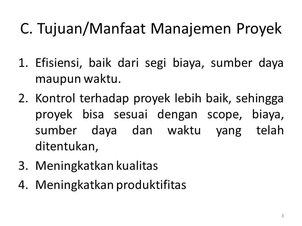 C. Tujuan/Manfaat Manajemen Proyek