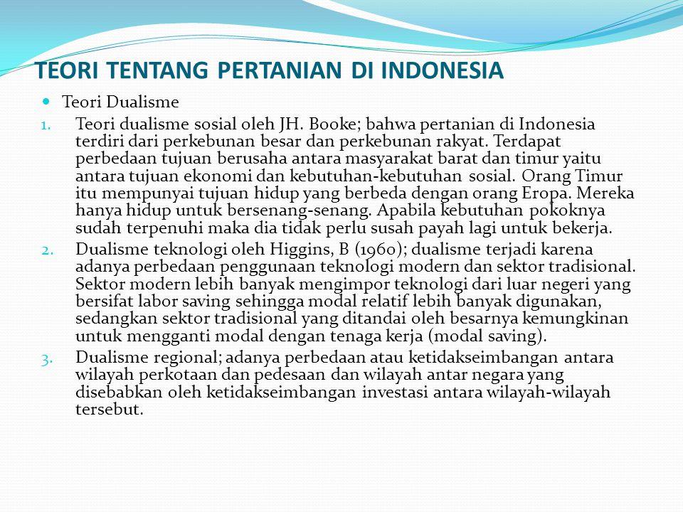 TEORI TENTANG PERTANIAN DI INDONESIA