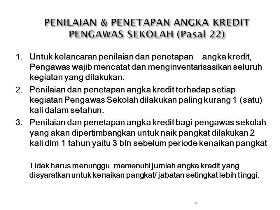 PENILAIAN & PENETAPAN ANGKA KREDIT PENGAWAS SEKOLAH (Pasal 22)