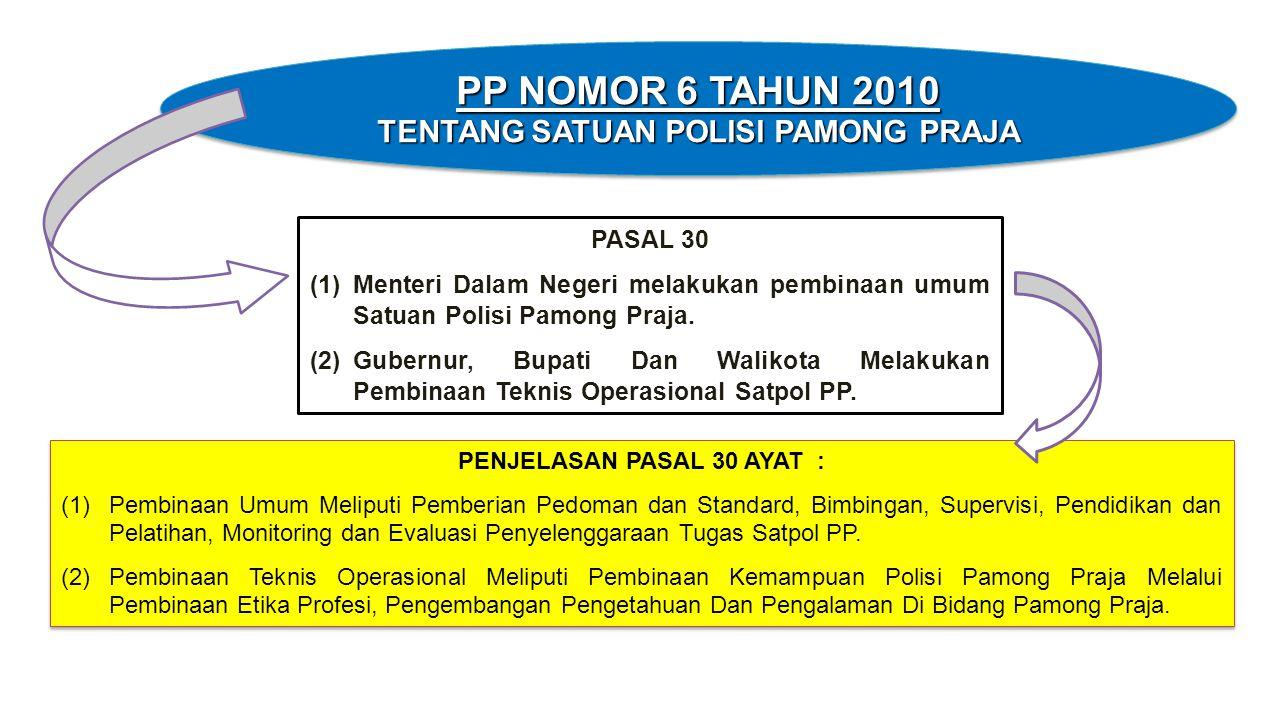 TENTANG SATUAN POLISI PAMONG PRAJA PENJELASAN PASAL 30 AYAT :