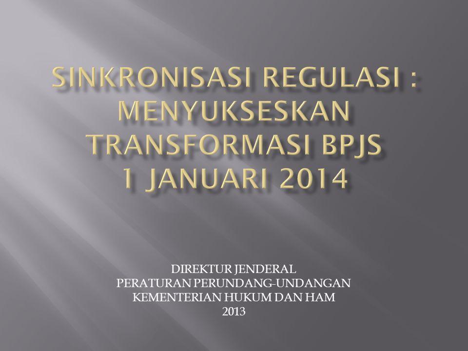 SINKRONISASI REGULASI : MENYUKSESKAN TRANSFORMASI BPJS 1 JANUARI 2014