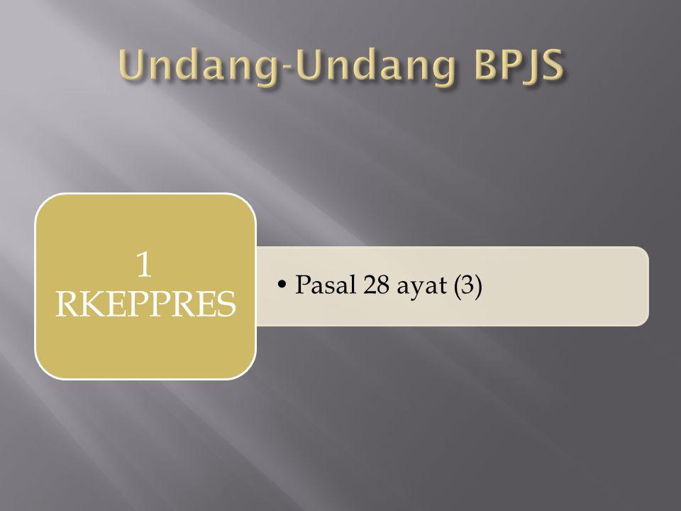 Undang-Undang BPJS Pasal 28 ayat (3) 1 RKEPPRES