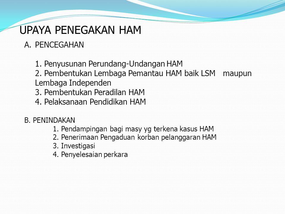 UPAYA PENEGAKAN HAM PENCEGAHAN 1. Penyusunan Perundang-Undangan HAM