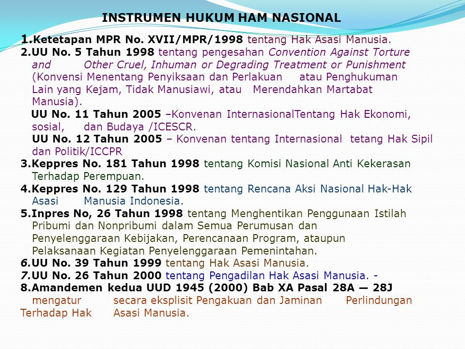 INSTRUMEN HUKUM HAM NASIONAL