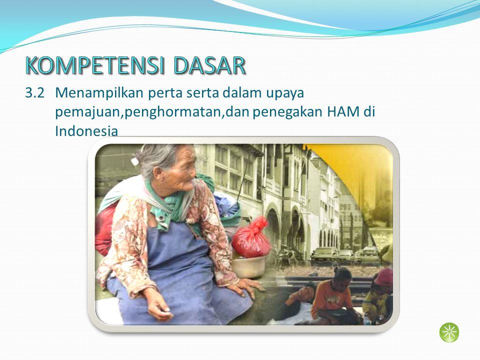 KOMPETENSI DASAR 3.2 Menampilkan perta serta dalam upaya pemajuan,penghormatan,dan penegakan HAM di Indonesia.