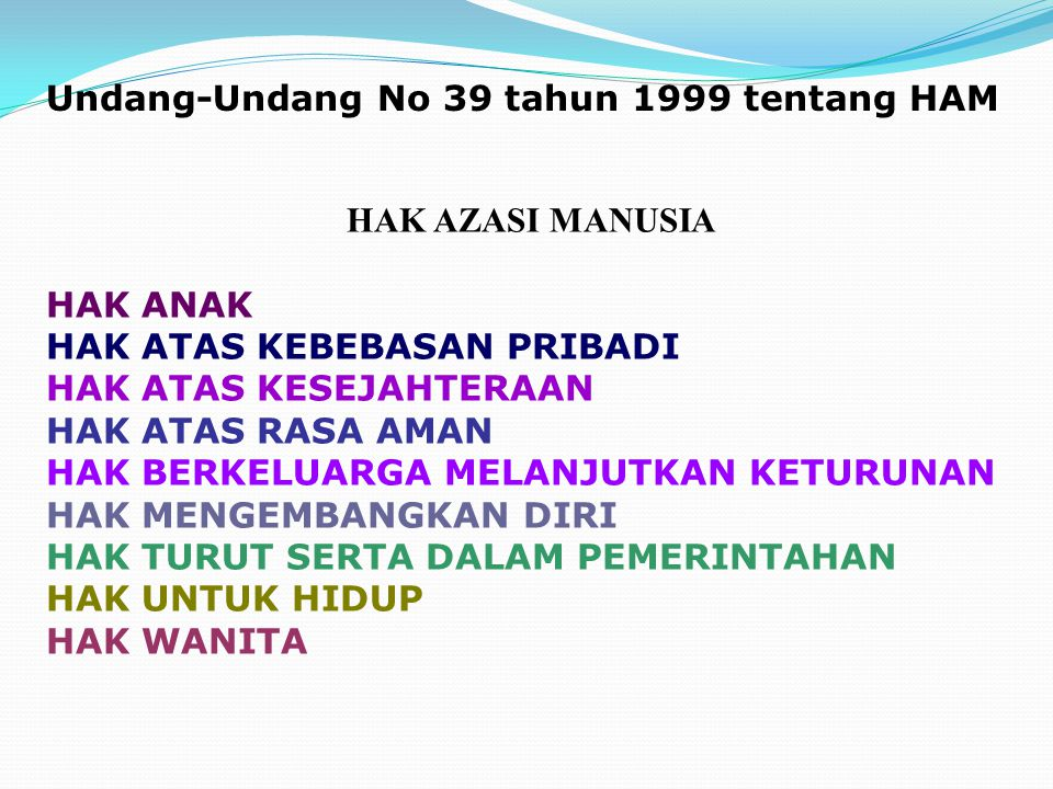 Undang-Undang No 39 tahun 1999 tentang HAM