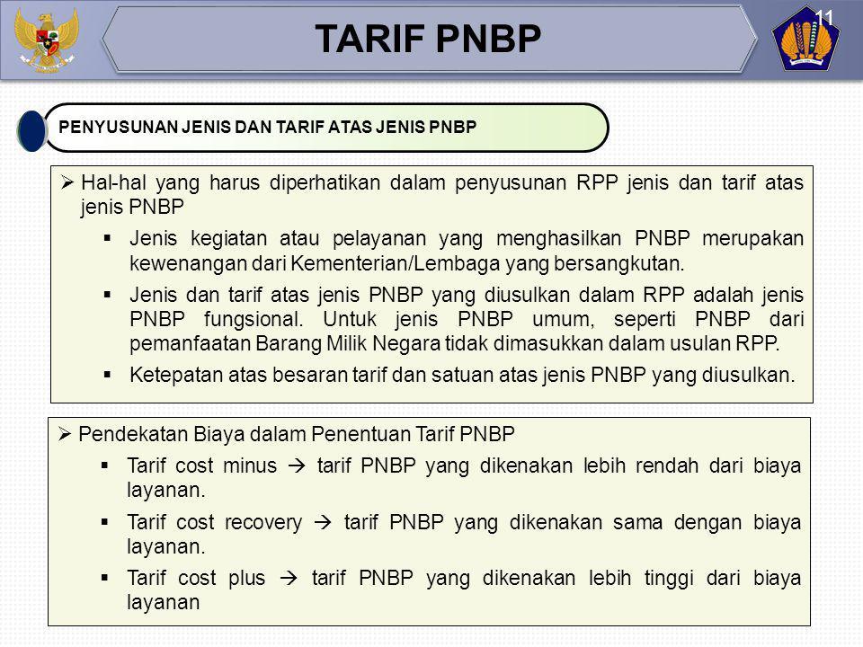 TARIF PNBP PENYUSUNAN JENIS DAN TARIF ATAS JENIS PNBP. Hal-hal yang harus diperhatikan dalam penyusunan RPP jenis dan tarif atas jenis PNBP.