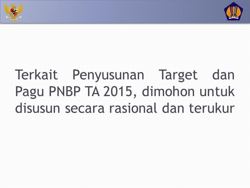 Terkait Penyusunan Target dan Pagu PNBP TA 2015, dimohon untuk disusun secara rasional dan terukur