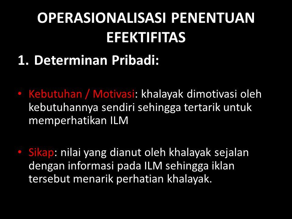 OPERASIONALISASI PENENTUAN EFEKTIFITAS