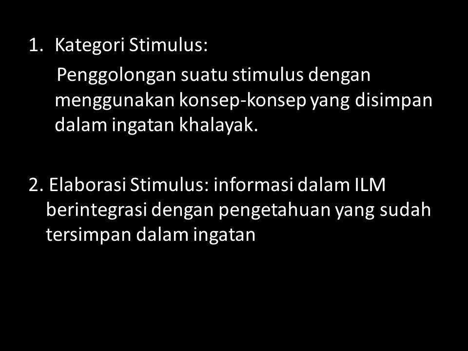 Kategori Stimulus: Penggolongan suatu stimulus dengan menggunakan konsep-konsep yang disimpan dalam ingatan khalayak.
