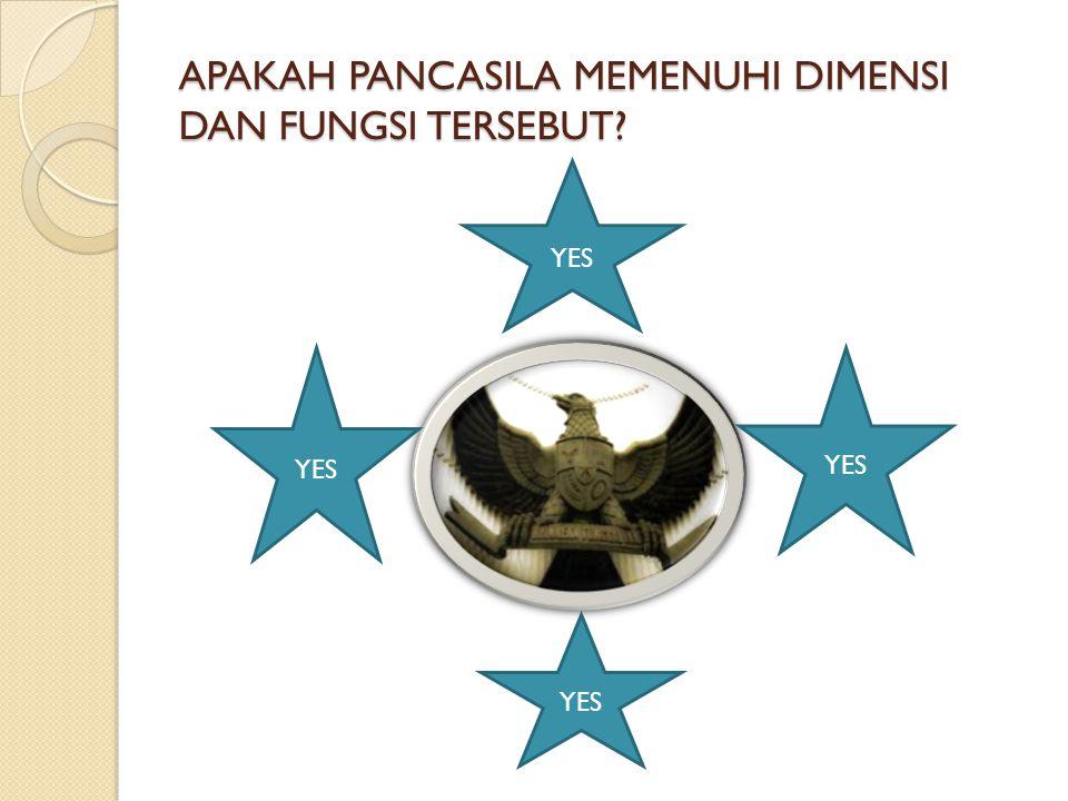 APAKAH PANCASILA MEMENUHI DIMENSI DAN FUNGSI TERSEBUT