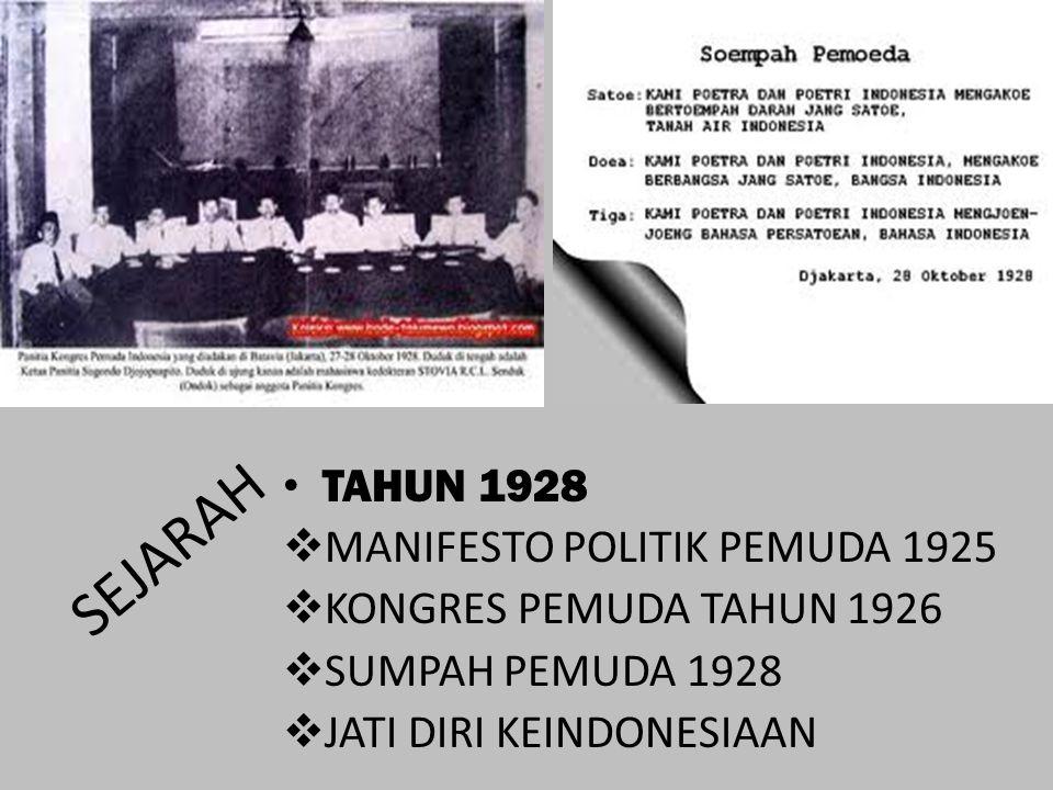 SEJARAH TAHUN 1928 MANIFESTO POLITIK PEMUDA 1925