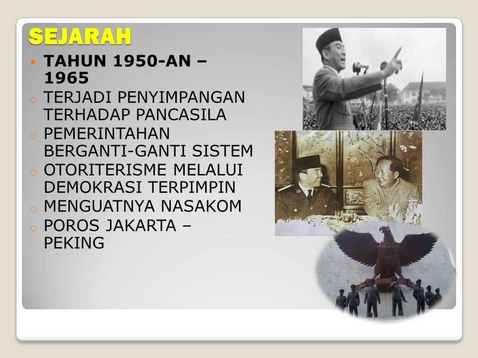 SEJARAH TAHUN 1950-AN – 1965 TERJADI PENYIMPANGAN TERHADAP PANCASILA