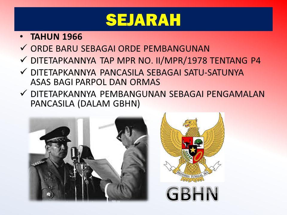GBHN SEJARAH TAHUN 1966 ORDE BARU SEBAGAI ORDE PEMBANGUNAN