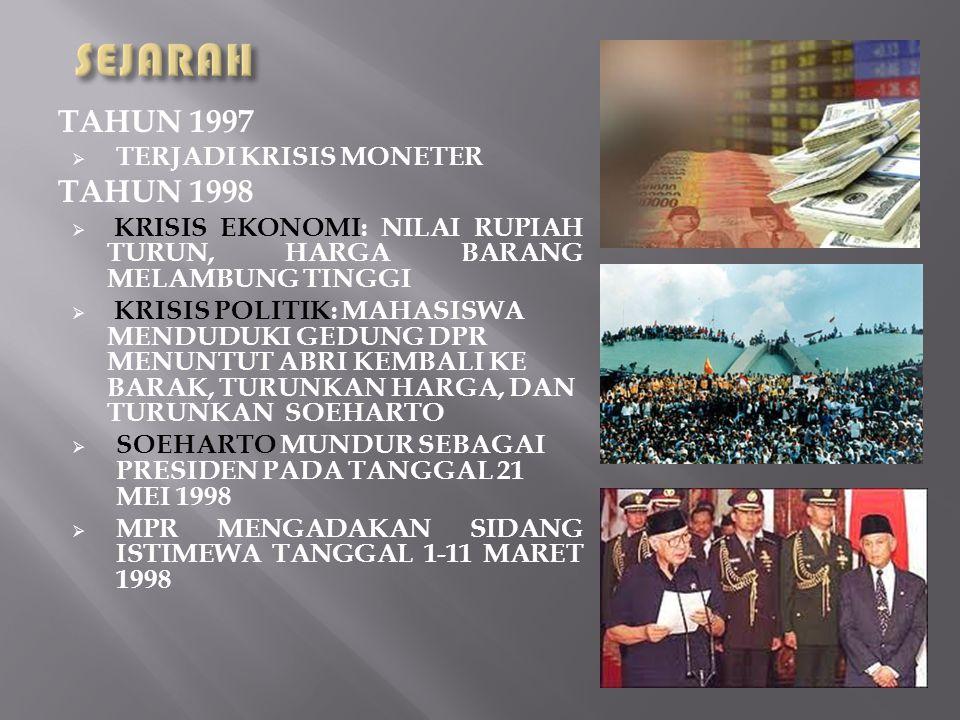 SEJARAH TAHUN 1997 TAHUN 1998 TERJADI KRISIS MONETER