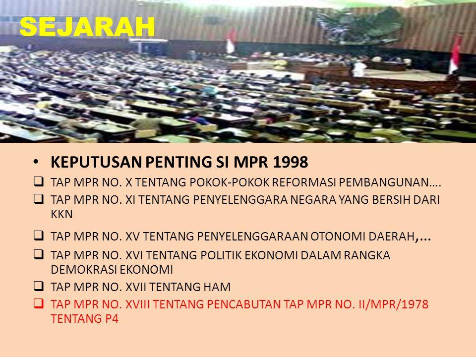 SEJARAH KEPUTUSAN PENTING SI MPR 1998